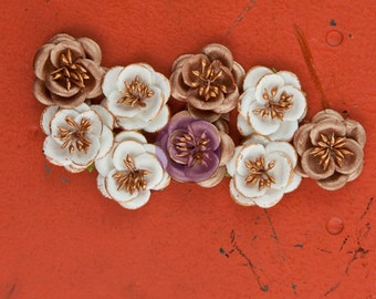 """SALE Prima Talia Flowers """"Tenascious"""" - Metallic Mulberry Paper Embossed Blossoms - 9pcs - Ships IMMEDIATELY from California - 574697"""