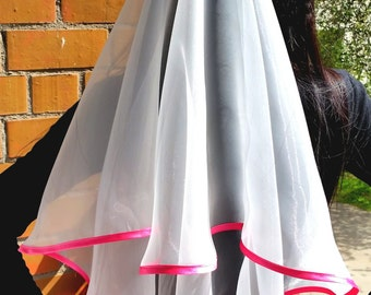 Bachelorette party Veil 2-tier white with hot pink trim, long length. Bride veil, bachelorette veil, wedding veil, hen party veil