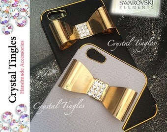 Simple Modern Sparkle 3D Gold Silver Crystal Diamond Metal Bow Synthetic Leather Case For iPhone SE & 5S Made w/ Swarovski Elements Crystals