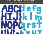 2 Pattern Multipack: Uppercase and Lowercase Alphabet Motif Patterns - PDF Digitial Download