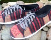 Tribal Mens Sneaker Shoe in Ethnic Naga Textiles Vegan Mens Trainers - Jamie