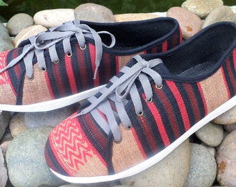 Tribal Mens Sneaker Shoe in Ethnic Naga Textiles Vegan Mens Trainers - Jamie