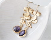 Orchid Earrings with Amethyst Glass Stones, Floral Whimsical Jewelry, Purple Weddings, Bridesmaids Jewelry, February Birthstone, 8 colours