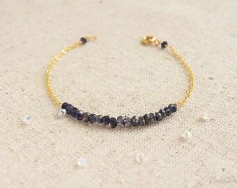 Delicate Iolite Bracelet, Thin Gemstone Bracelet, Gemstone Healing