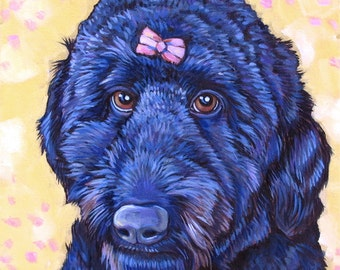 """12"""" x 12"""" Custom Pet Portrait Acrylic Painting on Ready to Hang Canvas of One Dog, Cat, Other Animal Ready to Hang Painted Sides 3/4"""" Deep"""