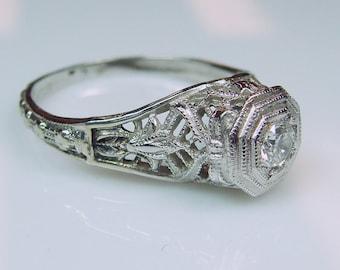 14k Art Deco Diamond Filigree White Gold Engagement Ring