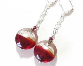 Murano Glass Red Silver Disc Dangle Earrings, Venetian Jewelry, Sterling Silver Leverback Earrings, lampwork Earrings, Clip ons For Women