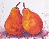 Red Pears Contemporary Home Decor, Kitchen, Dining, Office -  FREE SHIPPING - Original Watercolor Painting by ebsq Artist Ricky Martin