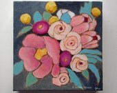 Modern pink flower painting original floral art - A Bouquet for Bethany