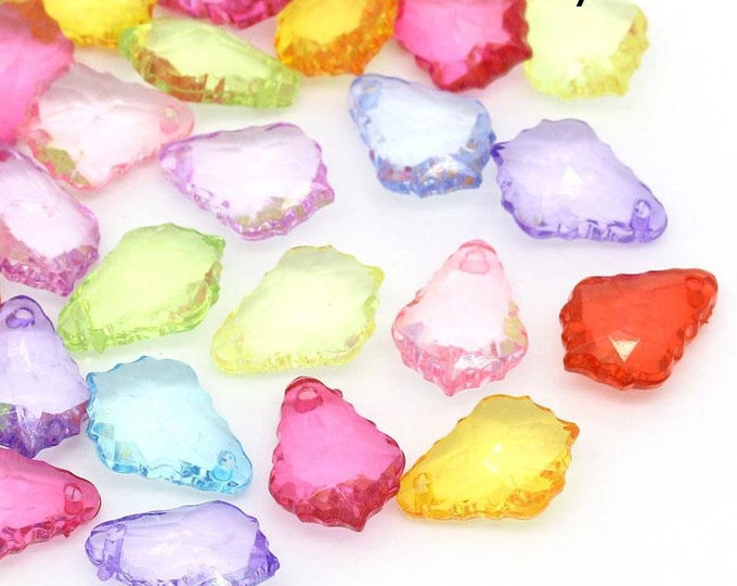 40 Mixed color acrylic resin teardrop charms 16mm x 11mm 40pcs (1343) - Flat rate shipping