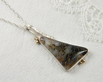 Mixed Metal Necklace Metalwork Necklace Handmade Art Jewelry Plume Agate Pendant Metalwork Jewelry