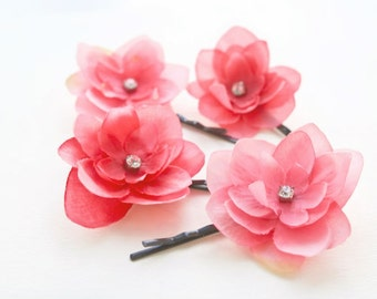 Pink Flower Clips Bridal Hair Flowers Bohemian Spring Wedding Small Bridal Flowers Fuchsia Pink Wedding Hair Accessories Crystals - set of 4