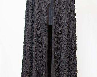 Custom Lily Munster-Inspired Black Casket Cape
