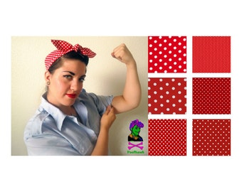 Rosie the Riveter Rockabilly Hair Wrap -  Red and White Polka Dot - Pin Up, Psychobilly, Retro - Poofhawk