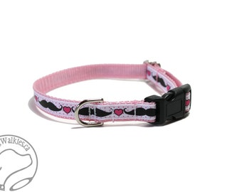 "SALE I Heart Staches - Thin Dog Collar - 1/2"" (13mm) Wide - Small Martingale or Quick Release Buckle - Choice of collar style and size"