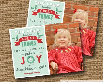 "Retro Christmas Photo Card | DIY PRINTABLE | ""Filled with Joy"" Christmas Typography 