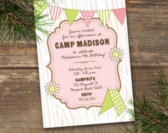 Camp Theme Birthday Invitation Printable