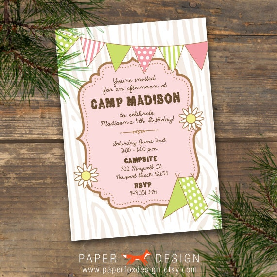 Camp Theme Birthday Invitation Printable