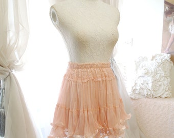 Romantic dusty pink lace skirt tutu tulle pleated mini skirt victorian smocked waist babydoll