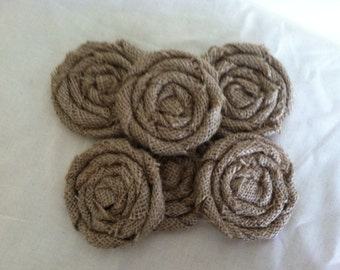 "Large Burlap 3.5"" Flowers in Natural Tan, Set of Six, Free Shipping"