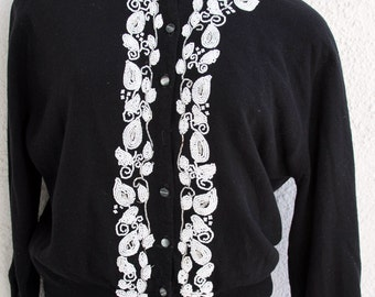 Black Cardigan Sweater with Beaded Details