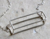 3D Rectangle Necklace, geomertic jewelry, modern minimalist style.  light chain