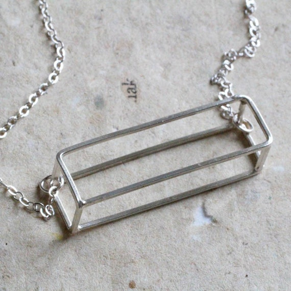 3D Rectangle Necklace, statement necklace, modern minimalist style, modern geometric jewelry