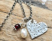 Rustic Love Necklace. Silver Heart Shaped Pendant with Garnet Bead Charm and Drop Pearl Charm on Rollo Chain.  Unique Fine Silver Jewelry.