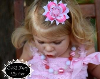 Birthday Hair Bow - Pink Birthday Hair Bow - Pink Hair Bow - Birthday Girl - Girl Birthday - Pink - Birthday - Custom YOU PICK BOTTLECAP