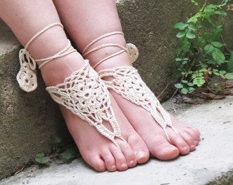 Barefoot sandles, Ivory Nude shoes, lace up sandals, Wedding Sandals, Sexy, Yoga, Beach Wedding, Ivory Lace Sandals, Handmade Lacy Sandles