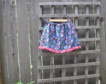 Funky Eco Mini Skirt/Upcycled Vintage Floral Mini Skirt/Short Skirt Pink Purple Blue Elastic Waist M/L