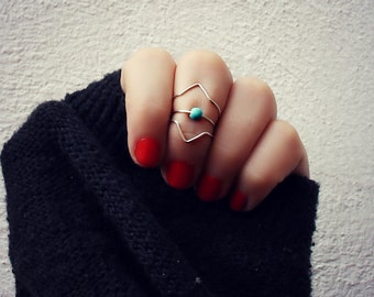 sterling silver knuckle rings set of 3, midi rings, chevron and turquoise rings, stacking rings, ring set, midi rings