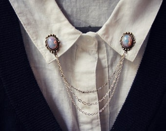 pink opal collar pins in silver, collar chain, collar brooch, lapel pin, pink opal pin, pink opal brooch