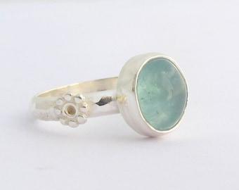 Aquamarine Sterling Silver Ring, Silver Ring with Aquamarine Gemstone, Size 6