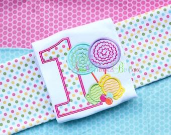 Candy Birthday Embroidered Shirt - Birthday Shirt - Polka Dot Birthday - Candy Birthday - 1st Birthday - Fun Dots Birthday - Candy Land