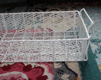Vintage White Metal Basket