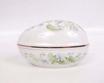 Vintage Toscany Collection Japan Porcelain Egg Trinket Box Violets Design Gold Trim