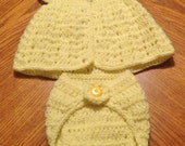 Crocheted 2 PC summer set for newborn baby girl, Photo prop or gift for baby girl in sunny yellow