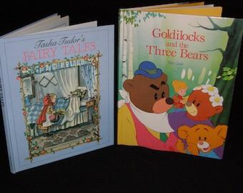 Vintage Children's Book Lot Tasha Tudor's Fairy Tales (Hardcover) by Tasha Tudor & Goldilocks and the Three Bears Hardcover by Van Gool