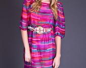 SALE 50% OFF 80s Saks 5th Avenue Silk Ribbon Stripe Dress