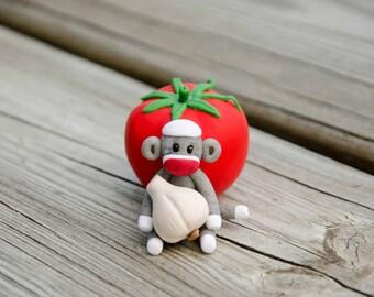 Marinara Sock Monkey with Tomato and Garlic, Polymer Clay by Creative Contours