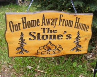 Camping Sign Cedar Carved Wood Sign   Personalized Pine trees camper stone fire place