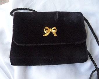 Black Velvet Bow Purse Small Vintage Bag