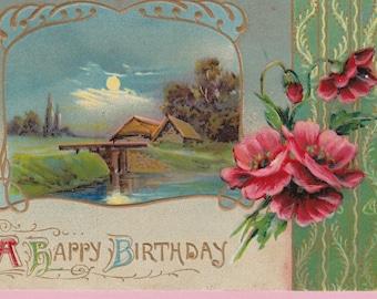 "Ca 1910 ""Pastoral Scene"" Victorian Birthday Greeting Postcard - 746"