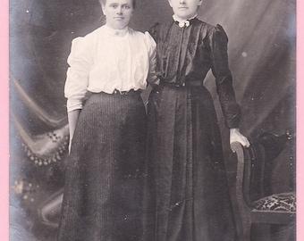 "Ca. 1909 ""Two Women"" Real Photo Postcard - B & W - 833"
