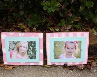Distressed Picture Frames, Stripes & Dots, 5x7 Frames, Fun Frames, Unique Baby Gift, Set of Two Frames