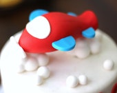 Fondant Cake Topper - Whimsical 3D Plane Cake Topper Fondant Figure - Matches Our Cupcake Toppers