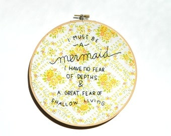 I must be a mermaid embroidery hoop wall art