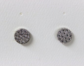 Silver Plated Round Crystal Post Pierced Earrings