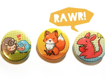cute creature button pack: fox, dragon and sheepies